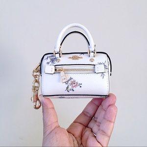 COACH Mini Rowan Satchel Bag Charm Dandelion Print